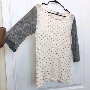 J. Crew Gray Cream Linen Polka Dot Top Medium